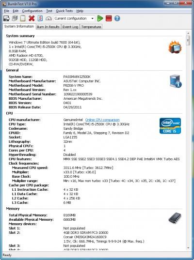 BurnInTest Standard 9.1.1009 screenshot