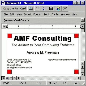 Business Card Creator for Word 3.2 screenshot