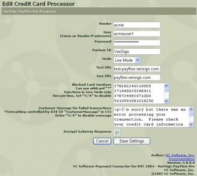 BVCommerce 2004 Credit Card Processors 3.8.1 screenshot