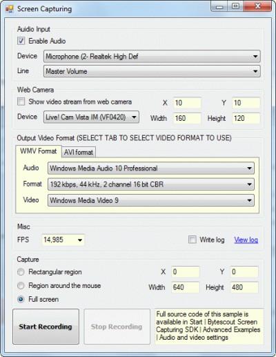 Bytescout Screen Capturing SDK 2.50.947 screenshot