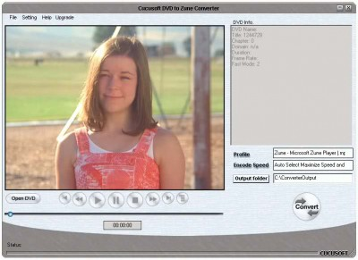 C SOFT - DVD to ZUNE Converter 8.026 screenshot