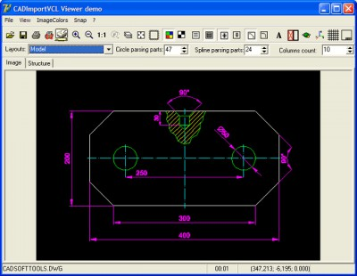 CAD Import VCL: dwg, dxf, plt, svg, cgm in Delphi 8.0 screenshot