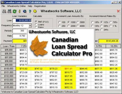 Canadian Loan Spread Calculator Pro 1.8.01 screenshot