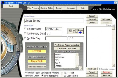 CardWare-Professional Birthday Post 2006 screenshot