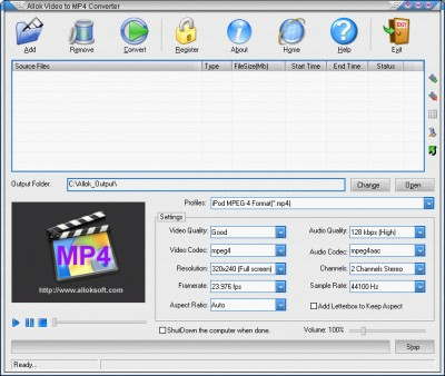 CC CONVERT VIDEO TO MP4 2011.1105 screenshot