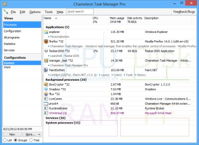 Chameleon Task Manager Pro 4.0.0.782. screenshot