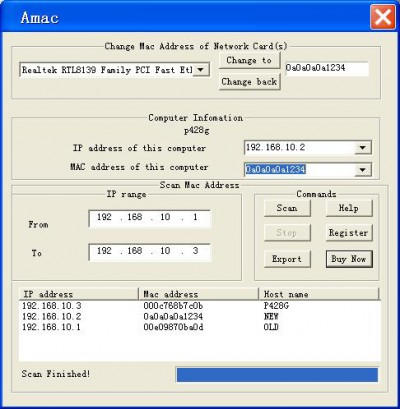 Change Mac Address AMAC 5.4 screenshot