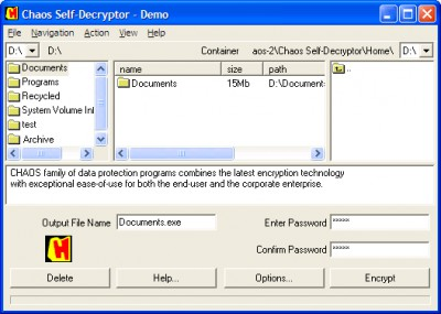 CHAOS Self Decryptor 3.9 screenshot