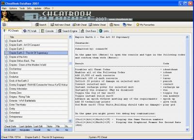 CheatBook-DataBase 2007 1.0 screenshot