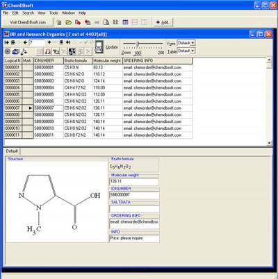 ChemDBsoft Academic Lite screenshot