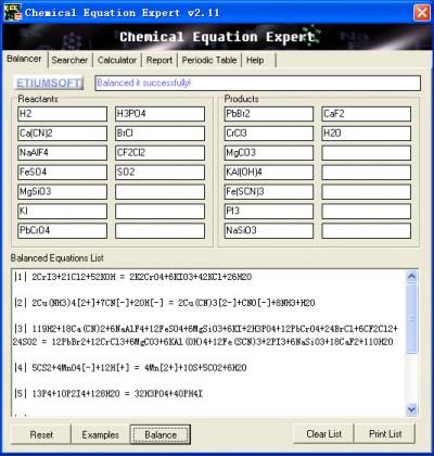 Chemical Equation Expert 2.12a screenshot