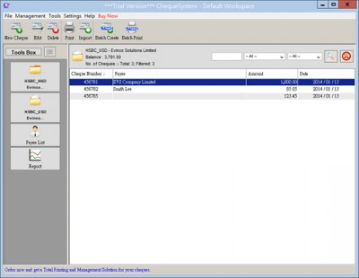 ChequeSystem Cheque Printing Software 3.7.6 screenshot