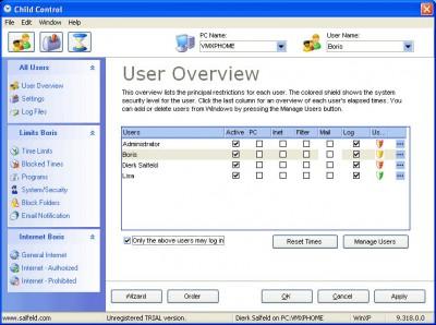 Child Control 2009 10.1 screenshot