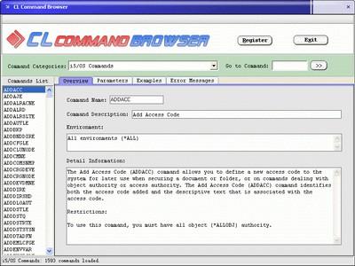 CL Command Browser 1.1 screenshot