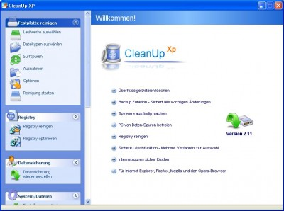 CleanUp XP 1.12 screenshot
