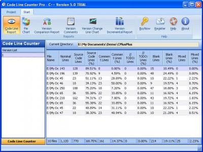 Code Line Counter Pro - C++ Version 7.0 screenshot