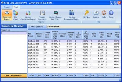 Code Line Counter Pro - Java Version 7.0 screenshot