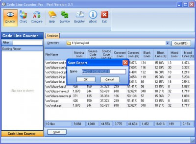 Code Line Counter Pro - Perl Version 7.0 screenshot