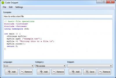 Code Snippet 1.0.0.2 screenshot