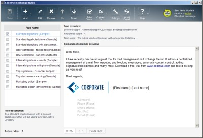 CodeTwo Exchange Rules 2013 1.0.0 screenshot