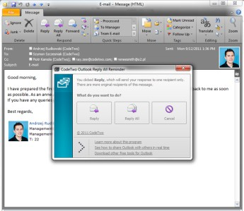 CodeTwo Outlook Reply All Reminder 1.0.1 screenshot