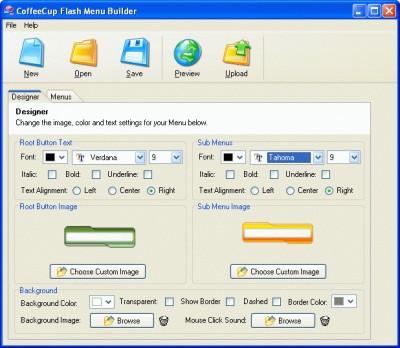 CoffeeCup Menu Builder 3.0 screenshot