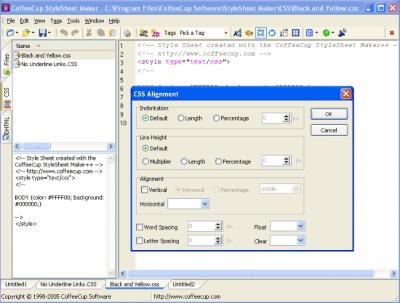 CoffeeCup StyleSheet Maker 5.0 screenshot