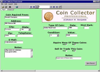 Coin Collector Professional 10.0 screenshot