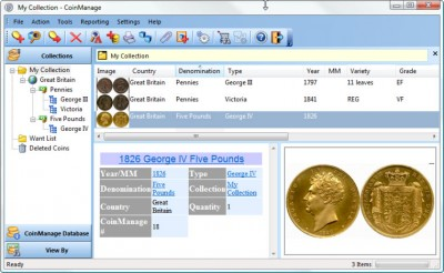 CoinManage UK Coin Collecting Software 2013 screenshot