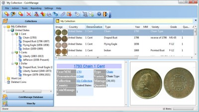 CoinManage USA Coin Collecting Software 2015 screenshot