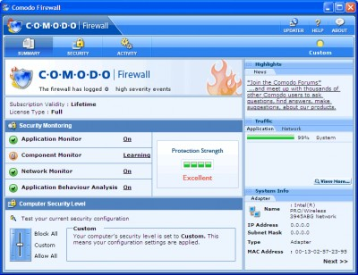 Comodo Personal Firewall 2.1.0.1 screenshot