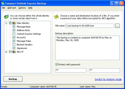 Compact Outlook Express Backup 3.0 screenshot