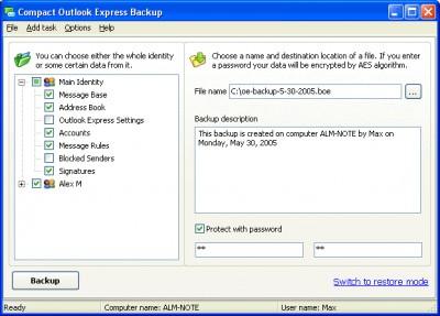 Compact Outlook Express Backup 3.0 screenshot