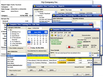Complete Time Tracking Software 2.42 screenshot