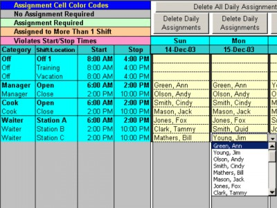 Complex Shift Schedules for 25 People 6.72 screenshot