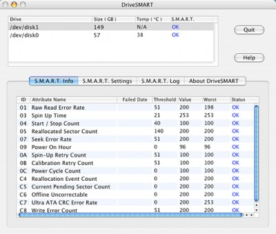 CompuApps DriveSMART for MAC OS X V1.02 screenshot