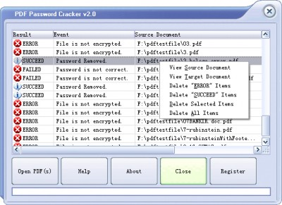 Crack PDF Password 2.0 screenshot