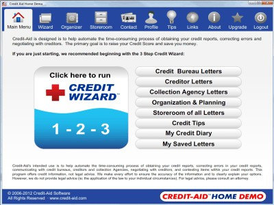 Credit-Aid HOME Credit Repair Software 8.0.0 screenshot