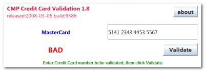 Credit Card Validator 1.8 screenshot