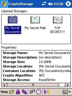 CryptoStorage for Pocket PC 1.5.1 screenshot