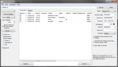 CSV2OFX 3.0.8.7 screenshot