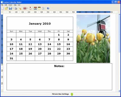 Custom Calendar Maker 2.33 screenshot