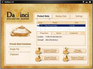 Da Vinci Encryption System 1.0 screenshot