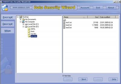 Data Security Wizard 2.05 screenshot