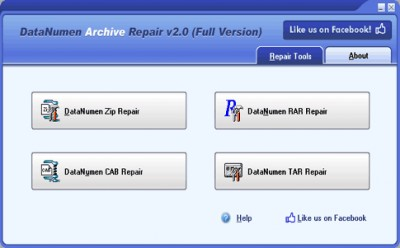 DataNumen Archive Repair 2.0 screenshot