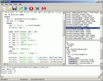 DBF Script 1.10 screenshot