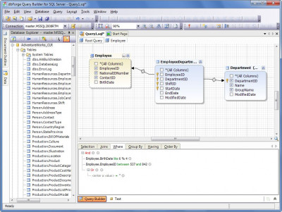 dbForge Query Builder for SQL Server 3.12 screenshot