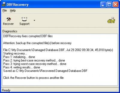 DBFRecovery 1.1.0843 screenshot