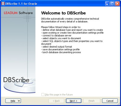 DBScribe for Oracle 1.3 screenshot