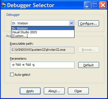 Debugger Selector 1.2 screenshot